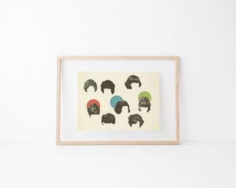 Retro Wall Art, Pop Art Poster, Collage Art Print, 60s Mod Girls - Hair Today, Gone Tomorrow