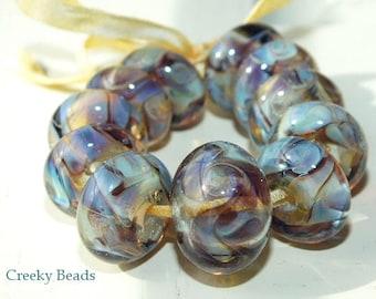 "Handmade Lampwork beads ""Blue Mosaic"" - Creeky Beads SRA"