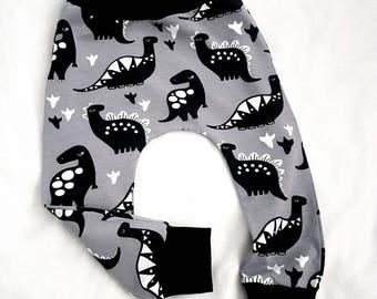 Grey Dino organic baby harem trousers - baby leggings - baby joggers - harem pants - toddler harems - baby clothing - organic clothing