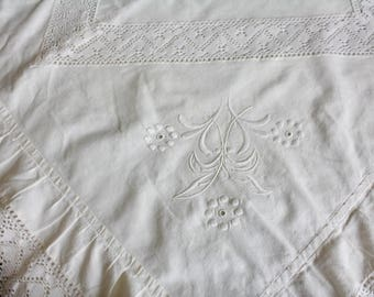 Antique Pillow Sham Edwardian Embroidery Lace Ruffles White