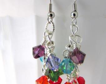 Rainbow Earrings, Cascade Earrings, Dangle Earrings, Crystal Earrings, Swarovski Earrings, Swarovski Jewelry, Free US Shipping