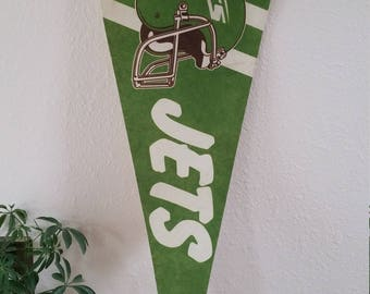 FREE SHIPPING Vintage Football Pennant, Jets, sports team memorabilia, New York, flag
