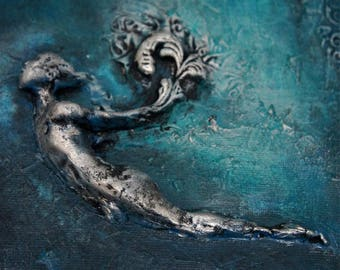 The Diver. Inspirational Wall Sculpture by Fae Factory Artist Dr Franky Dolan (clay relief & canvas painting mixed media art) {SEE VIDEO}