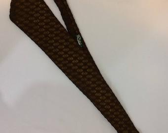 Vintage Beau Brummel Gentry Necktie// Brown Lace over Gold Background// Mid Century Mod Neck Tie.