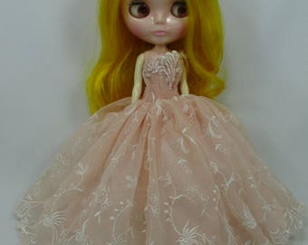 Blythe Outfit Clothing Cloth Fashion handcrafted beads tutu lace gown dress 9-4
