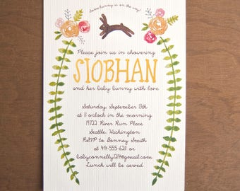 Bunny rabbit digital instant download watercolor floral baby shower invitations rose flowers whimsical