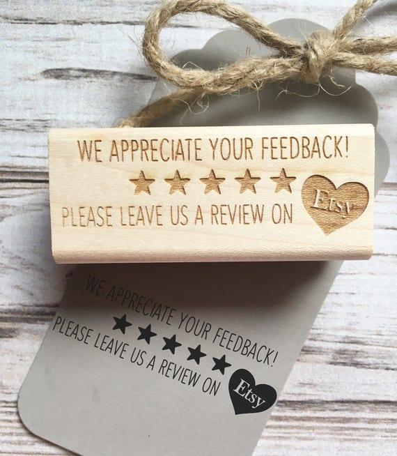 Feedback Stamp Etsy - Five Star Review Social Media Etsy Seller Promotion Stamp