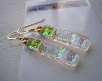 Earrings Golden Sparkle Fused Dichroic Glass Dangles 14K Gold Filled French Hooks Pastel Colors Semi-Transparent Pierced Ears Shimmer Glass