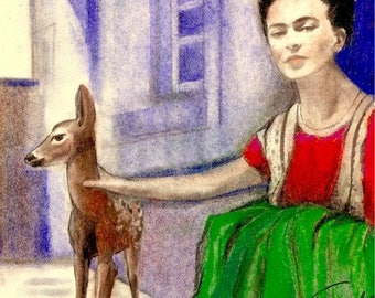Frida Kahlo and her pet deer Granizo  Original Pastel Pencil Charcoal 8x 10 Print By Connie Troupe