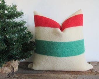Wool Point Blanket Pillow Cover Iconic Canada Blanket 20 x 20 Both Sides Zipper