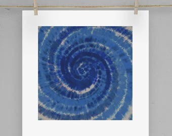 Indigo Blue Shibori Swirl Print  5X5 8X8 12X12 Matting Options