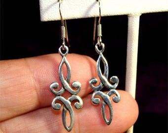 Irish Double CELTIC KNOT Dangle Earrings in STERLING Silver
