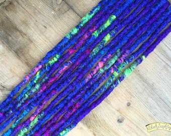 Blue Splash SE x12 Crochet Synthetic dreads - purple yellow green pink