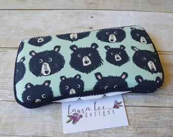 READY TO SHIP, Hipster Bears Travel Baby Wipe Case, Personalized Wipecase, Blue Diaper Bag Clutch, Baby Shower Gift, Monogram Wipe Holder