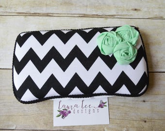 Black and White Chevron Stripe with Flowers Travel Baby Wipe Case, Personalized Wipecase, Wet Wipe Case, Diaper Wipes Case, Baby Wipe Holder