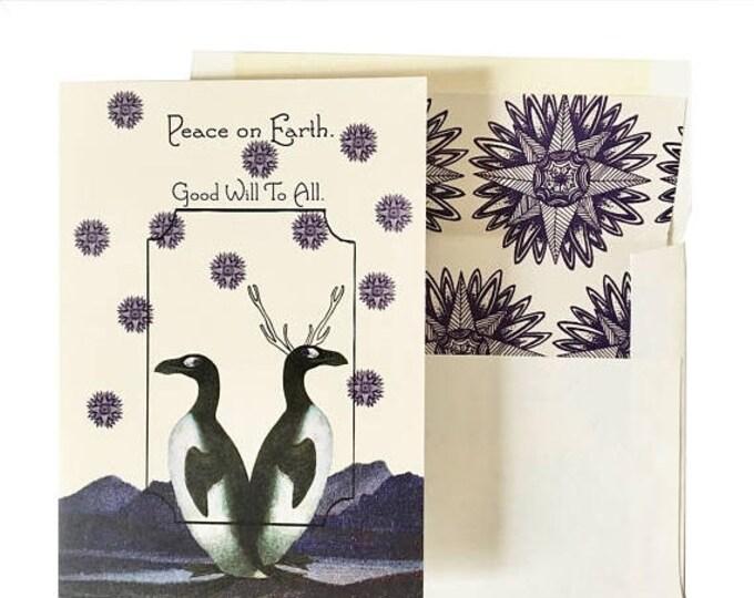 BLACK FRIDAY SALE Bohemian Holiday Card  Blue Fir tree scented Penguins Teacher Gift
