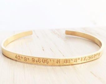 coordinates bracelet, going away gift, graduation present, stacking gold cuff bracelet, layering bracelets, 14k gold filled stamped jewelry