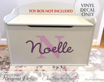 Personalized Toy Box Monogram Decal, Name & Initial for Baby Nursery Decor, Toy Chest Removable Vinyl Decal, Shown: Noelle (0179c205v)