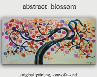 """sale Gold Texture leave art, Abstract tree blossom, Colorful Home Art, modern vivid acrylic painting, huge ready to hang, 48"""" x 24"""""""