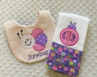 Baby Girl Personalized 2 Piece Gift Set  - Bib and Burp Cloth- Whimsical Ladybug in Purple