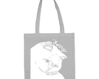Cat Tote Bag - Cat Bag, white cat cotton bag, cat shopping bag, RBF, gift for cat lover, cat lover gifts, screen printed tote bag, tote bag