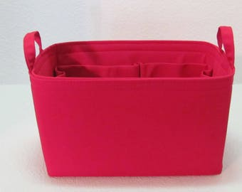 Ready to Ship ..Small (9Lx5Dx6T)... Red.w/end handles... Purse Insert ORGANIZER . . Strong and Durable -  #A8