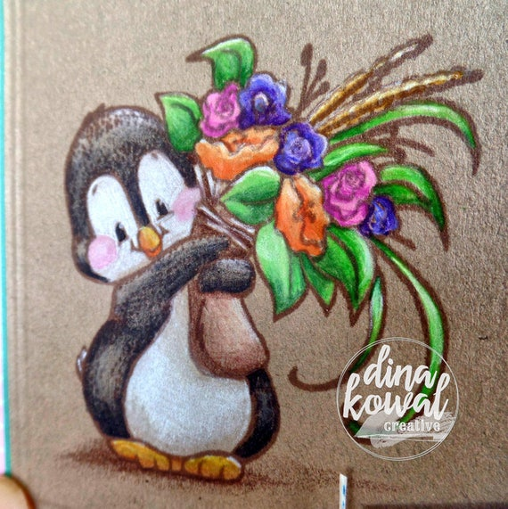 handmade greeting cards - Miss You Penguin Gardener