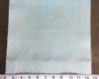 Custom Curtains Valance Roman Shade Shower Curtains in Light Aqua Leaf Pattern Fabric