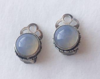 1920s Sterling Silver & Moonstone Clip Earrings