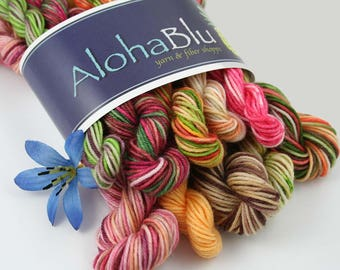 "MENEHUNE MINI Yarn Skeins ""Drinks & Dessert Set"": 10x - 10gram Hand-dyed Food-themed - Sock yarn - Mini yarn center pull balls - 100 grams"