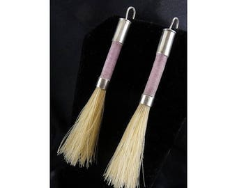 Sterling Silver, Silk Thread Wrapped Stick Earrings with Brushes - Pierced