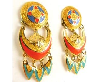 Vintage Edgar Berebi 3-Tier Enameled Earrings - Gold, Blue, Orange Red, Aqua
