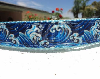 "Sale Dog Collar Blue Waves Wild 3/4"" or 1"" wide Quick release buckle adjustable - upgrade to Martingale style"