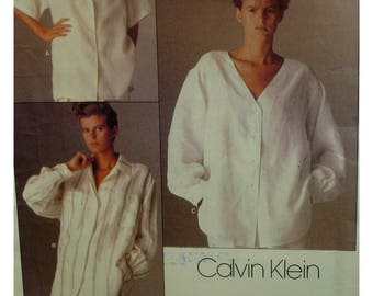 Loose Shirt Pattern, Notched Collar, V-neck, Long Sleeves, Cuffs, Back Yoke, Back Pleat, Vogue No. 1509 UNCUT Size 10 OR Size 14 OR Size 16