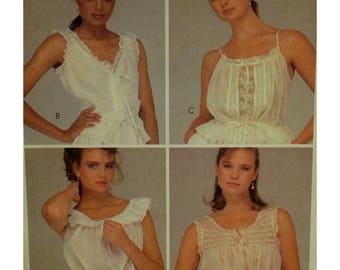 Camisole Pattern, Four Styles, V-neck, Drawstring, Ruffle, Peplum, Lace Trim, Sleeveless, McCalls No. 8592 UNCUT Size 12 (Bust 34'87cm)