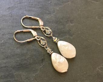 Wedding Crystal and Pearl earrings