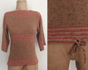 30% OFF 1970's Tan Striped Pullover Drawstring Sweater Vintage Size XS Small by Maeberry Vintage
