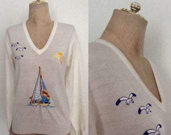 30% OFF 1970's Acrylic Sailboat Nautical Embroidered Sweater
