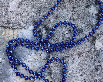 Crystal Knotted Necklace Boho Long Dark Blue Mix and Match