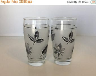 Sale Vintage Silver Leaf Silver Leaves Glasses Drink Glasses Set of 2