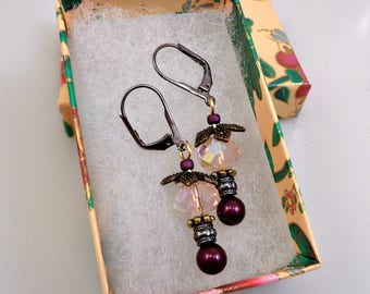 Drop Earrings With Glass Pearls and Crystal Beads