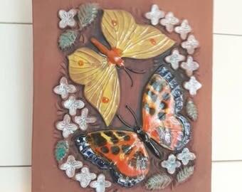 Mid century / retro / ceramic / Seramic plaque / ceramic wall decor / seramic wall hanging / wall plaque / butterfly from Jie, Sweden