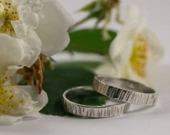 White Gold Bark Wedding Band: An 18ct white gold textured wedding ring band