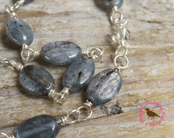 Blue Gray Kyanite Necklace, Blue Gray Gemstone Necklace, Long Kyanite Necklace, Sterling Wire Wrap Gray Necklace, by MagpieMadness for Etsy