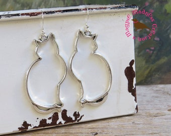 Oversized Silver Cat Outline Dangle Earrings, 2.5 Inch Silver Cat Earrings, Minimal, Antiqued Silver, by Magpie Madness for Etsy