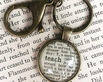 TEACH keychain - Teach Pendant - Teach Necklace - Teach Key ring - Teach word - Teacher gift - educator gift - dictionary word - book art