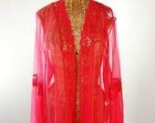 des années 70 Peignoir de mousseline de soie Set rouge balayage de longueur de plancher neuf 3 X