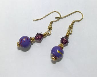 Hook Earrings 5mm Purple Amethyst Swarovsk Crystal Bicones 8mm Purple with Gold Striations Porcelain Round Beads 14K Gold Filled Ear Wires
