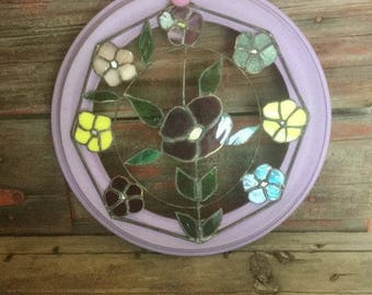 Stain Glass Window, Multicolor Glass Design Framed, Multicolor Floral Glass Wall Decor, Round Framed Glass Picture
