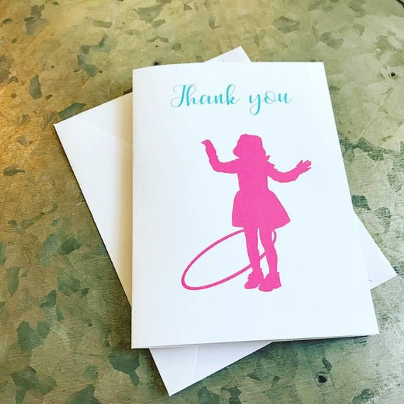 Hula Hoop Silhouette Cards Hula hoop hula hoop note cards hula hoop birthday hula hoop party hula hoop thank you cards